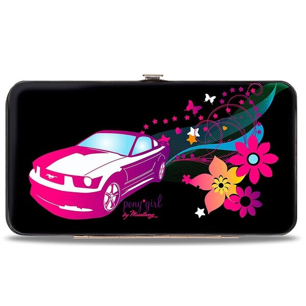 Mustang Pony Girl Butterflies Flowers Stars Black Pinks Purples Hinged Hinge Wallet - One Size Fits most
