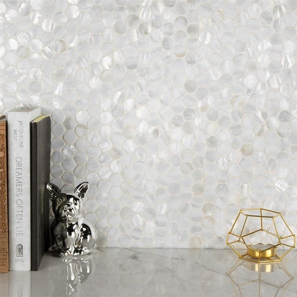 SomerTile 11.5x11.625-inch Seashell Mini Penny White Natural Seashell Mosaic Wall Tile