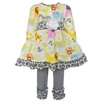 AnnLoren Little Girls Jungle Animals and Polka Dot Dress set Clothing