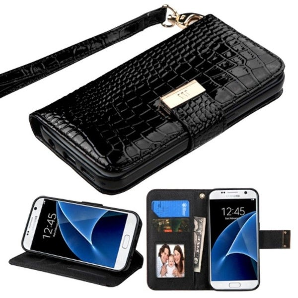 Insten Stand Folio Flip Crocodile Skin Leather Wallet Flap Pouch Case Cover For Samsung Galaxy S7