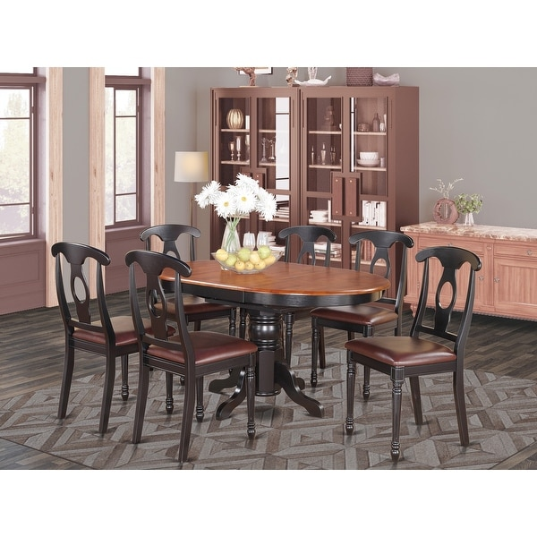 East West Furniture 7-PC Dining Set - Pedestal Dining Table and 6 Dining Chairs - Black & Cherry Finish (Chair Seat Option). Opens flyout.