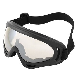 Man Woman Clear White Lens Wide Angle Black Plastic Frame Skate Goggles Glasses