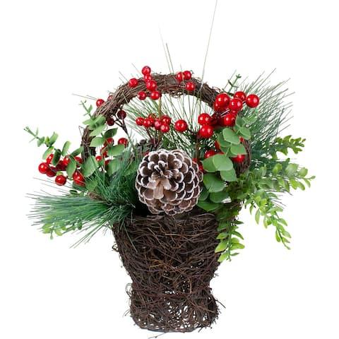 """15"""" Eucalyptus Pine and Berry Artificial Christmas Grapevine Basket"""