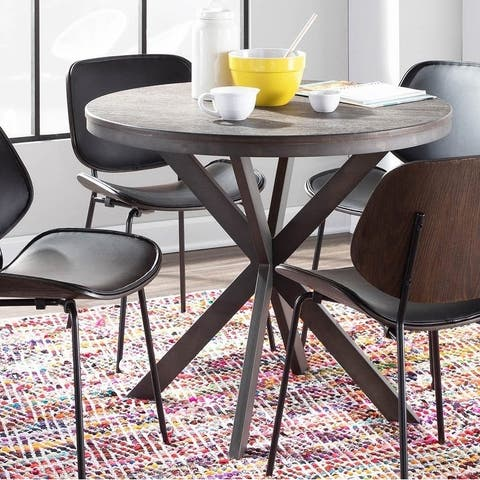 Carbon Loft Torkia X-pedestal Industrial Wood and Metal Dinette Table
