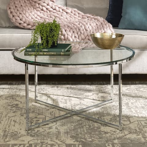"Offex 36"" Round Glass Coffee Table with Metal X-Base - Chrome"