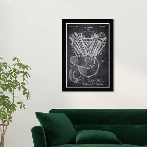 Wynwood Studio 'Harley Engine 1923 Chalkboard' Transportation Black Wall Art Framed Print