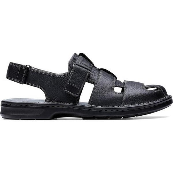 1db6afcc225 Shop Clarks Men s Malone Cove Fisherman Sandal Black Tumbled Leather - Free  Shipping Today - Overstock - 27346901