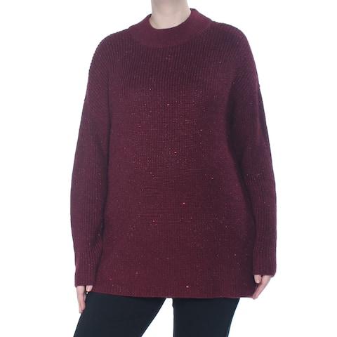 MICHAEL KORS Womens Maroon Ribbed Metallic Long Sleeve Sweater Size: XL