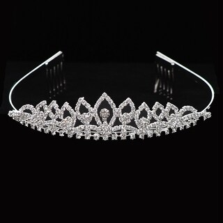 Girls Silver Rhinestone Encrusted Flower Girl Communion Tiara Comb Crown