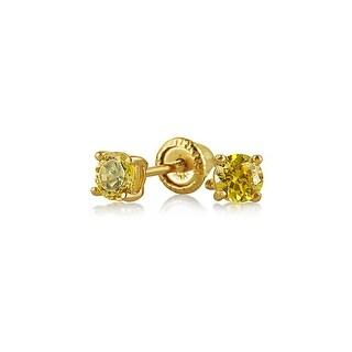 Bling Jewelry Yellow CZ Baby Screwback Studs 14K Gold 3mm