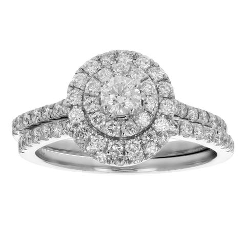 7/8 cttw Diamond Wedding Engagement Ring Set 14K White Gold