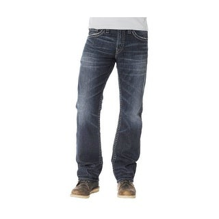 Silver Jeans Denim Mens Zac Relaxed Whiskered Dark Wash