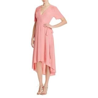 WAYF Womens Wrap Dress Crepe Gathered