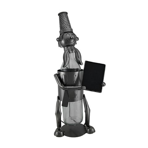 Wine of the Day Happy Chef Holding Chalkboard Metal Bottle Holder