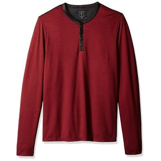 Guess NEW Red Mens Size Small S Mason Jacquard Henley Crewneck Sweater