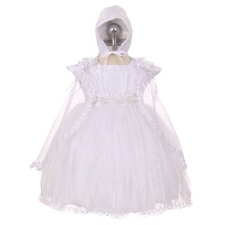 RainKids Baby Girls White Sparkly Tulle Cape Bonnet Christening Dress 0-24M