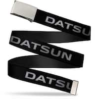 Blank Chrome  Buckle Datsun Text Black White Webbing Web Belt
