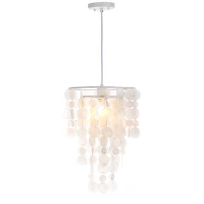 "SAFAVIEH Lighting Pearl Capiz 1-Light White Adjustable Pendant Lamp - 13""x13""x20.5-92.5"""