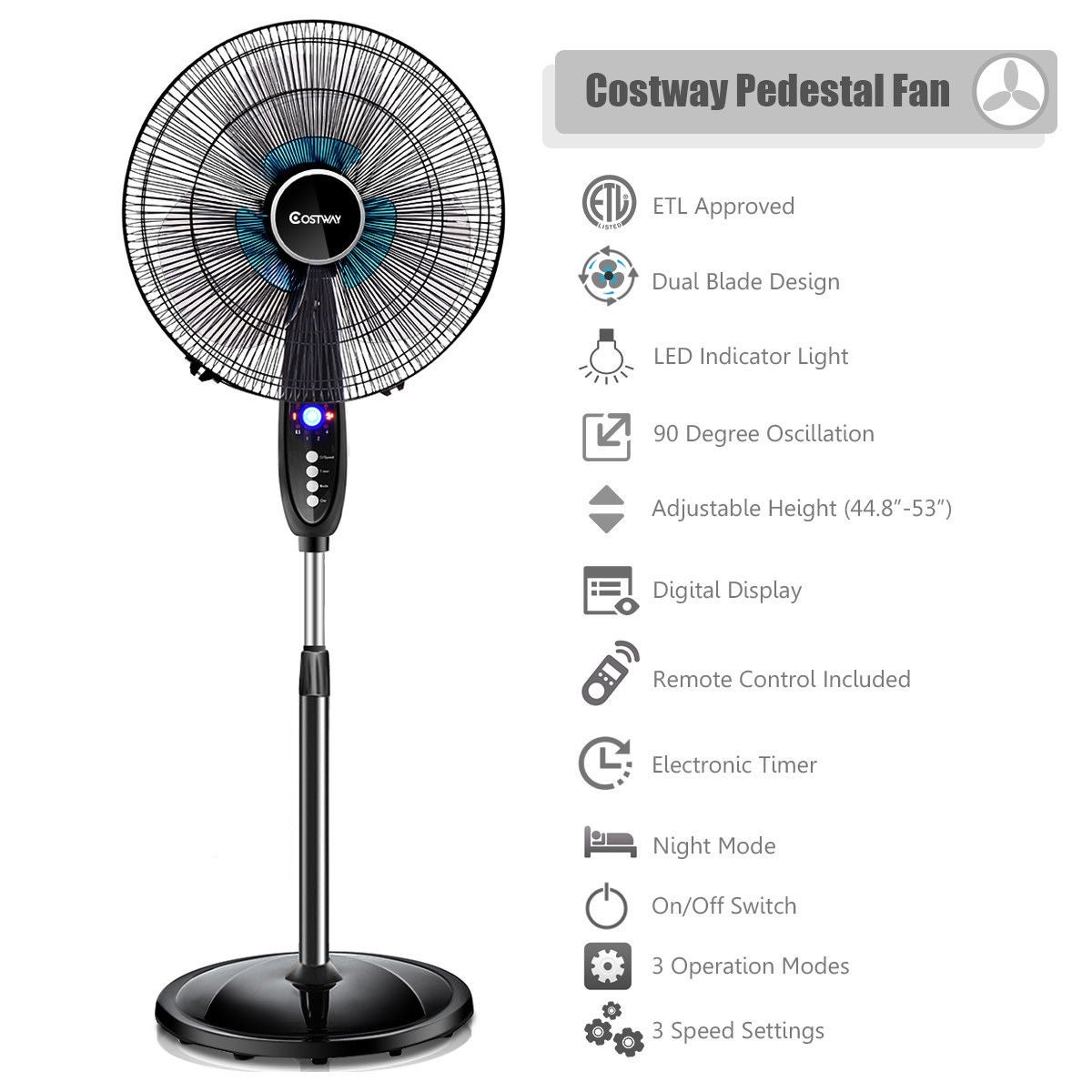 Honeywell Pedestal Fan Remote Control 3 Speed Adjustable Oscillating Floor Black