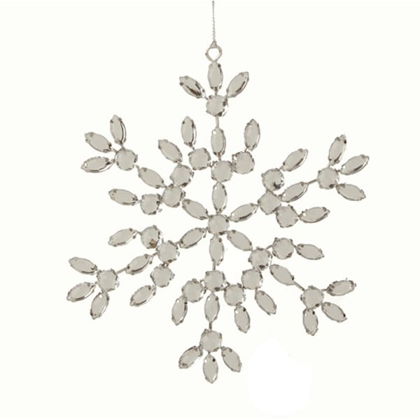 """6"""" Glamour Time Silver Jeweled Snowflake Christmas Ornament"""
