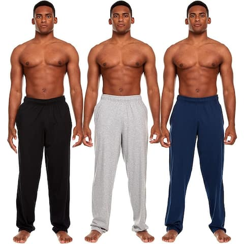 Essential Elements 3 Pack: Men's 100% Cotton Jersey Jogging Lounge Casual Sleep Pajama Bottoms Drawstring Pants with Pockets