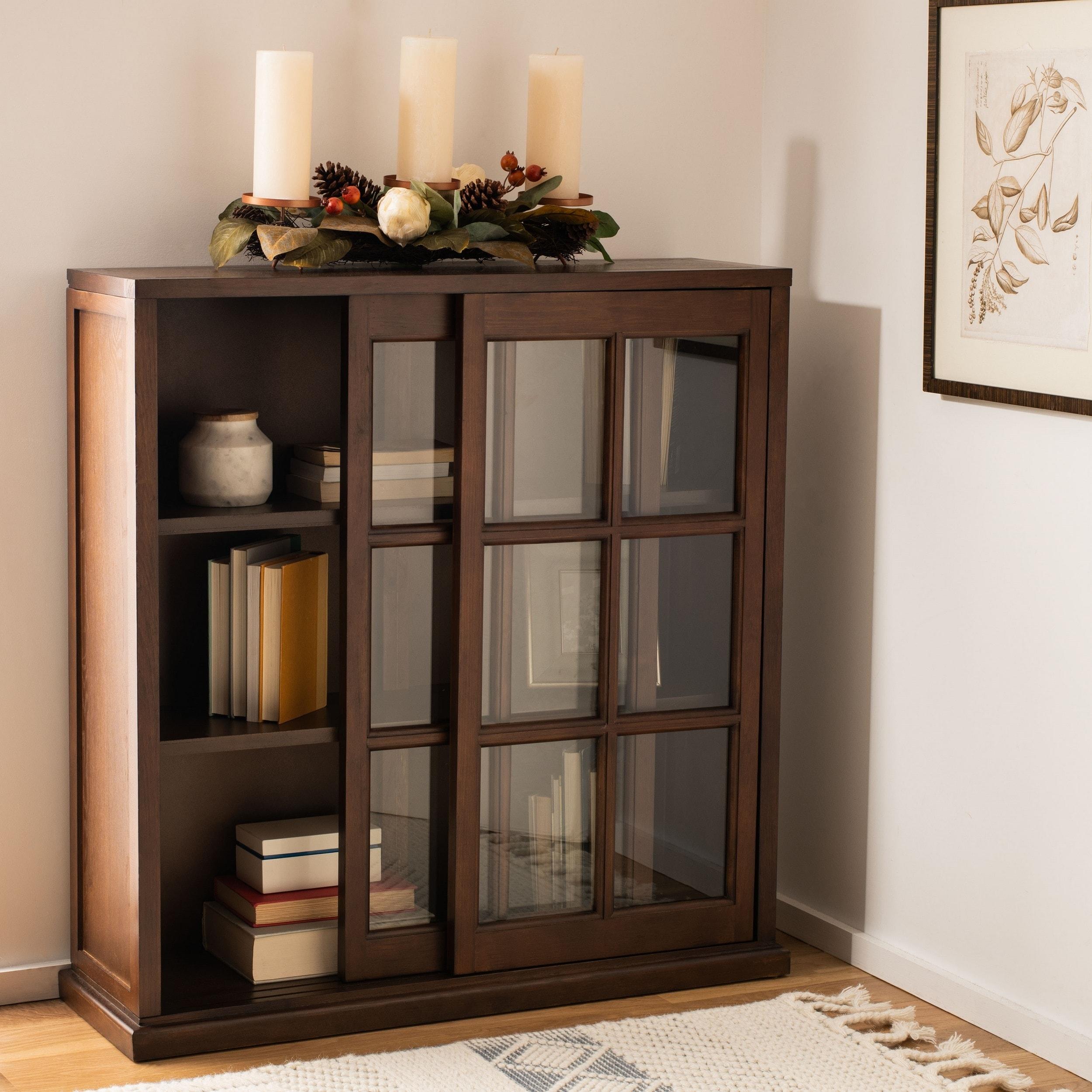 Shop Black Friday Deals On Safavieh Greg Dark Teak Storage Bookcase 39 W X 11 4 L X 40 2 H Overstock 6605274
