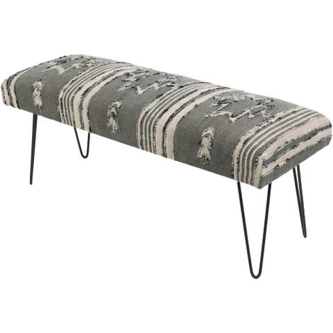 Mahalia Charcoal Boho Cotton Bench