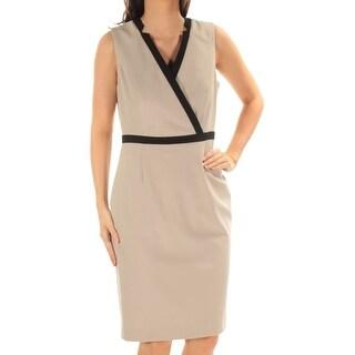 Womens Beige Sleeveless Knee Length Sheath Wear To Work Dress Size: 10