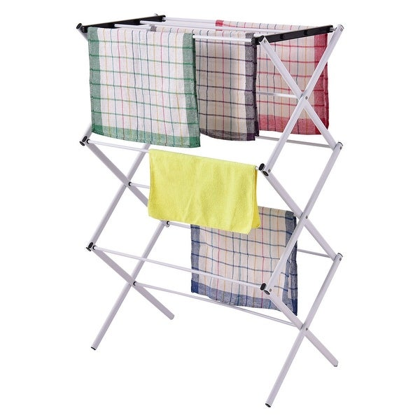 Costway Foldable Clothes Storage Drying Rack Portable Metal Laundry Hanger  Towel Rack