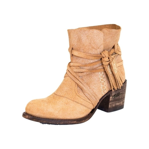 Miss Macie Fashion Boots Womens Katie Jo Ankle Suede Beige