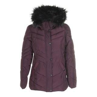 Madden Girl Juniors Merlot Black Faux-Fur-Trim Hooded Puffer Coat M