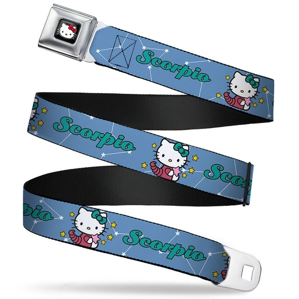 Hello Kitty W Red Bow Full Color Black Hello Kitty Zodiac Scorpio Webbing Seatbelt Belt
