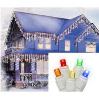 Set of 70 Multi-Color LED Icicle Christmas Lights - White Wire