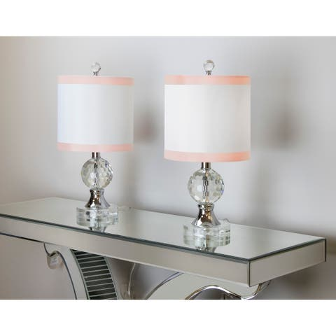 """18"""" Crystal Table Lamp w/ Metal Accents & Luxurious Shade (Set of 2)"""