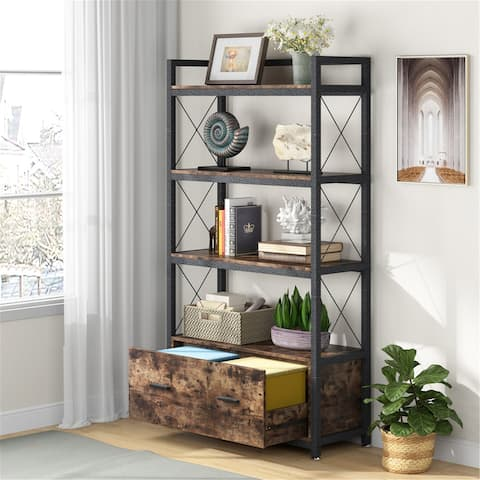 Bookcase with Drawer, File CabinetBookshelf with Storage Cabinet, Display Shelf