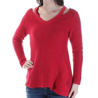Womens Red Long Sleeve V Neck Casual Sweater Size S