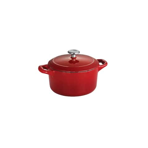 Tramontina 24 oz Enameled Cast-Iron Series 1000 Covered Mini Cocotte - Gradated Red
