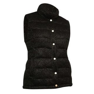 Charter Club Women's Metallic Pocket Vest - Deep Black