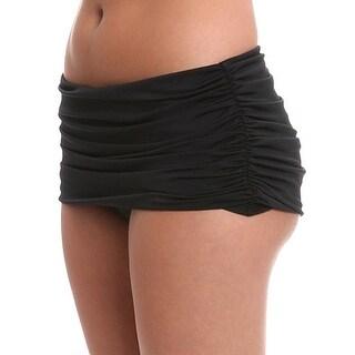 Carmen Marc Valvo NEW Black Women's Size Small S Ruched Bikini Bottom