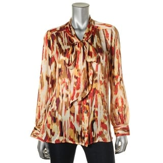 Vince Camuto Womens Textured Printed Blouse - L