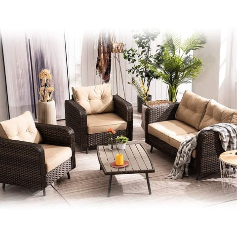 Mcombo Patio Furniture Sectional Set,4 Pieces Outdoor Wicker Sofa 6082-9541