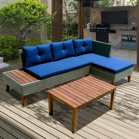 Outdoor Sectional Grey Wicker/Blue Cushion Set