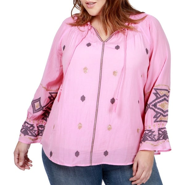 Lucky Brand Pink Women's Size 1X Plus Embroidered Tassle Blouse
