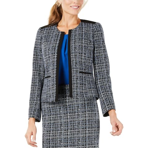 Kasper Womens Jewel Neck Jacquard Blazer Jacket