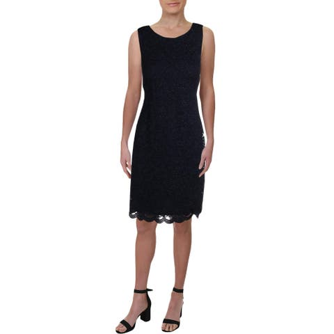 Jessica Howard Womens Cocktail Dress Lace Glitter - Navy - 10
