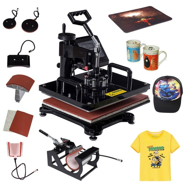 0d701c2d09c Costway 6 in 1 Heat Press Machine Digital Transfer Sublimation T-Shirt Mug  Hat Plate