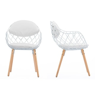 Siatka Contemporary White Metal & Leather Dining Chair - 1 Chair