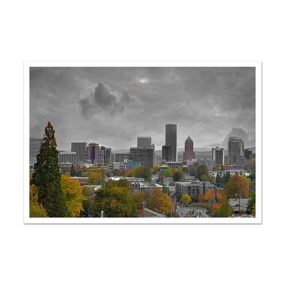 Portland Touch of Color Skylines Matte Poster 36x24