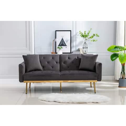Morden Fort Convertible Sofa, Velvet Upholstered Square Arm Sofa 3 Adjustable Positions Sofa