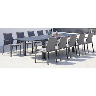 Link to Ritz Dark Grey 11 Pc Dining Set with Sling Set in Ash Grey Similar Items in Patio Furniture